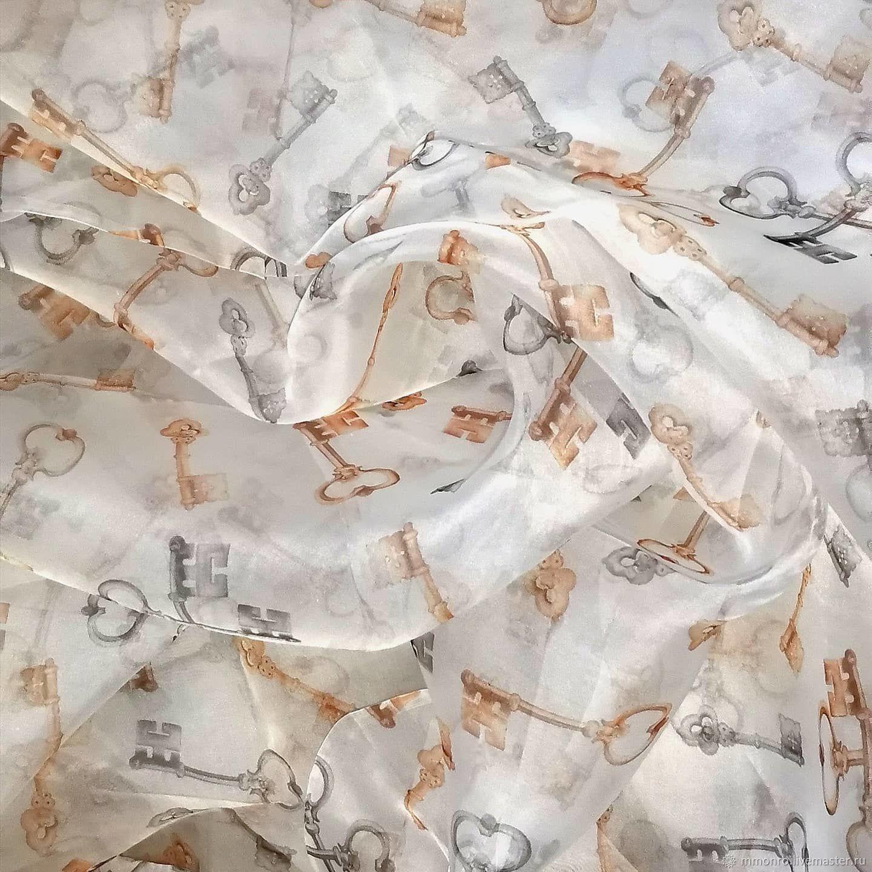 D&G Natural silk, soft organza. Keys, Fabric, Podolsk,  Фото №1