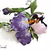 Украшения handmade. Livemaster - original item Purple irises jewelry Set leather necklace and earrings flowers. Handmade.