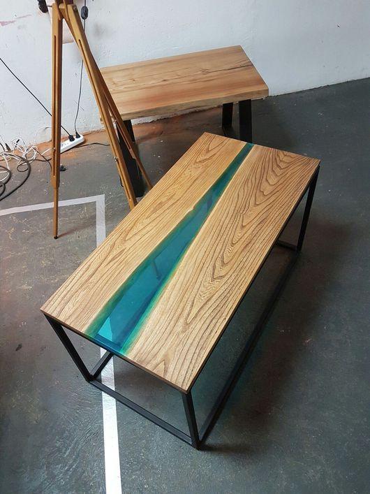 Мебель ручной работы. Ярмарка Мастеров - ручная работа. Купить Стол река с жидким стеклом из массива карагача.. Handmade. Лофт