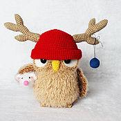 Подарки к праздникам ручной работы. Ярмарка Мастеров - ручная работа Сова в шапке оленя, сова игрушка. Handmade.