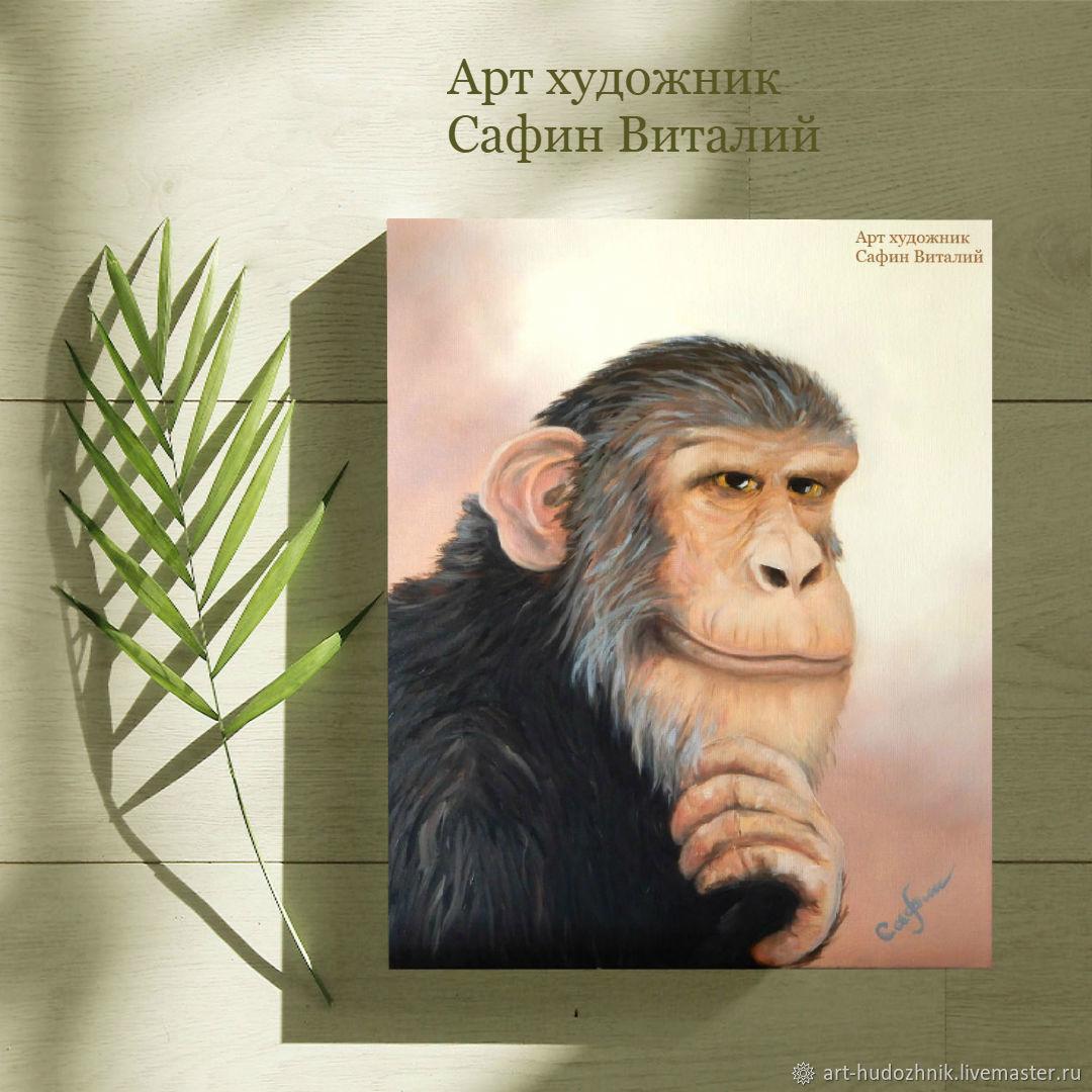 Анималистика обезьяна картина маслом Философ портрет животных, Картины, Санкт-Петербург,  Фото №1
