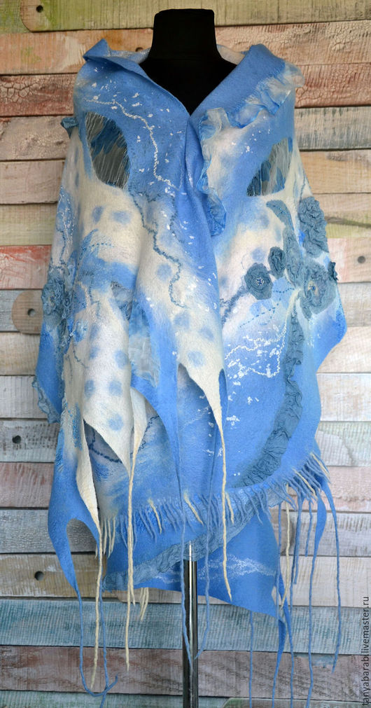 """Шали, палантины ручной работы. Ярмарка Мастеров - ручная работа. Купить Палантин """"Нежность"""" войлок. Handmade. Голубой, палантин из войлока"""