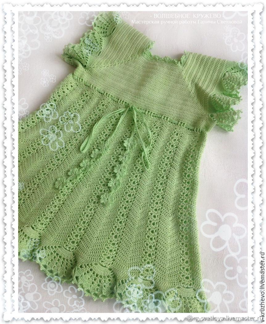 Вязаное детское платье для девочки Нежная зелень из хлопка, Одежда для девочек, Новосибирск, Фото №1