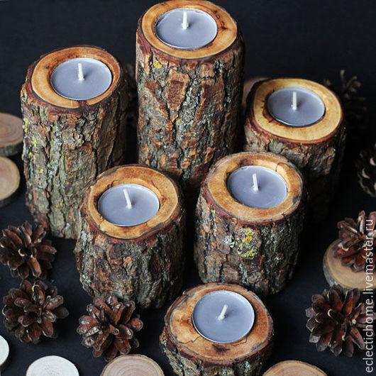 Подсвечники ручной работы. Ярмарка Мастеров - ручная работа. Купить Подсвечники из дерева, поштучно. Handmade. Коричневый, подсвечник, кантри