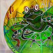 Посуда handmade. Livemaster - original item Bottle of Frog, stained glass painting. Handmade.
