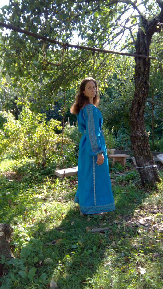 Этническая одежда ручной работы. Ярмарка Мастеров - ручная работа. Купить Платье обережное небесно-синее. Handmade. Славянское платье