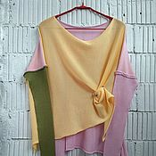 Одежда ручной работы. Ярмарка Мастеров - ручная работа КН_003_ОАШ Блузон 3-хцветный. Handmade.