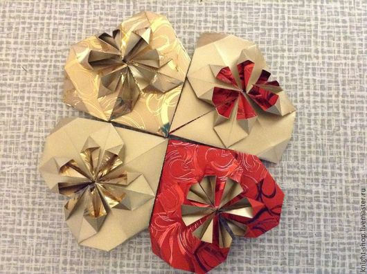 Новый год 2017 ручной работы. Ярмарка Мастеров - ручная работа. Купить Сердечко для любимых, оригами. Handmade. Сердечки, разные цвета