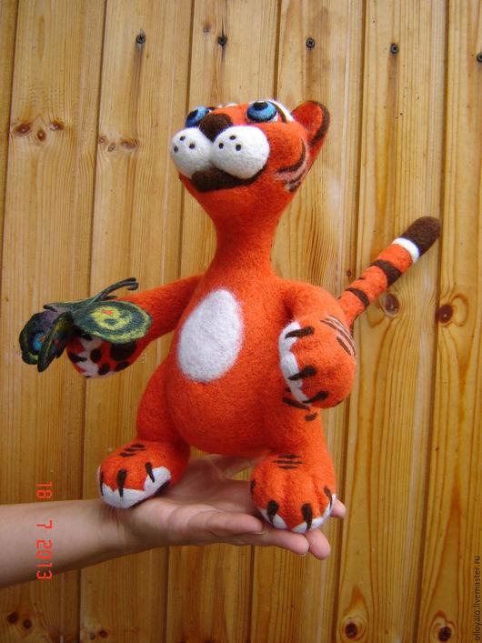 Игрушки животные, ручной работы. Ярмарка Мастеров - ручная работа. Купить тигренок с бабочкой. Handmade. Рыжий, тигренок, шерсть 100%