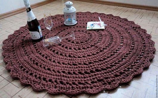 Текстиль, ковры ручной работы. Ярмарка Мастеров - ручная работа. Купить Вязаный ковер. Handmade. Коричневый, прикроватный коврик