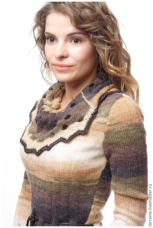 Туника женская `Crystal  Woolheart`. Авторская модель 2015 года. Lorraine Woolheart.  Состав: Шерсть, люрекс, вискоза Размер: XS; S Цвет: Бежевый, коричневый