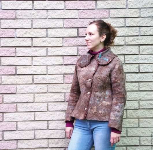 Пиджаки, жакеты ручной работы. Ярмарка Мастеров - ручная работа. Купить Жакет валяный Лапландия. Handmade. Коричневый, щерстяной жакет