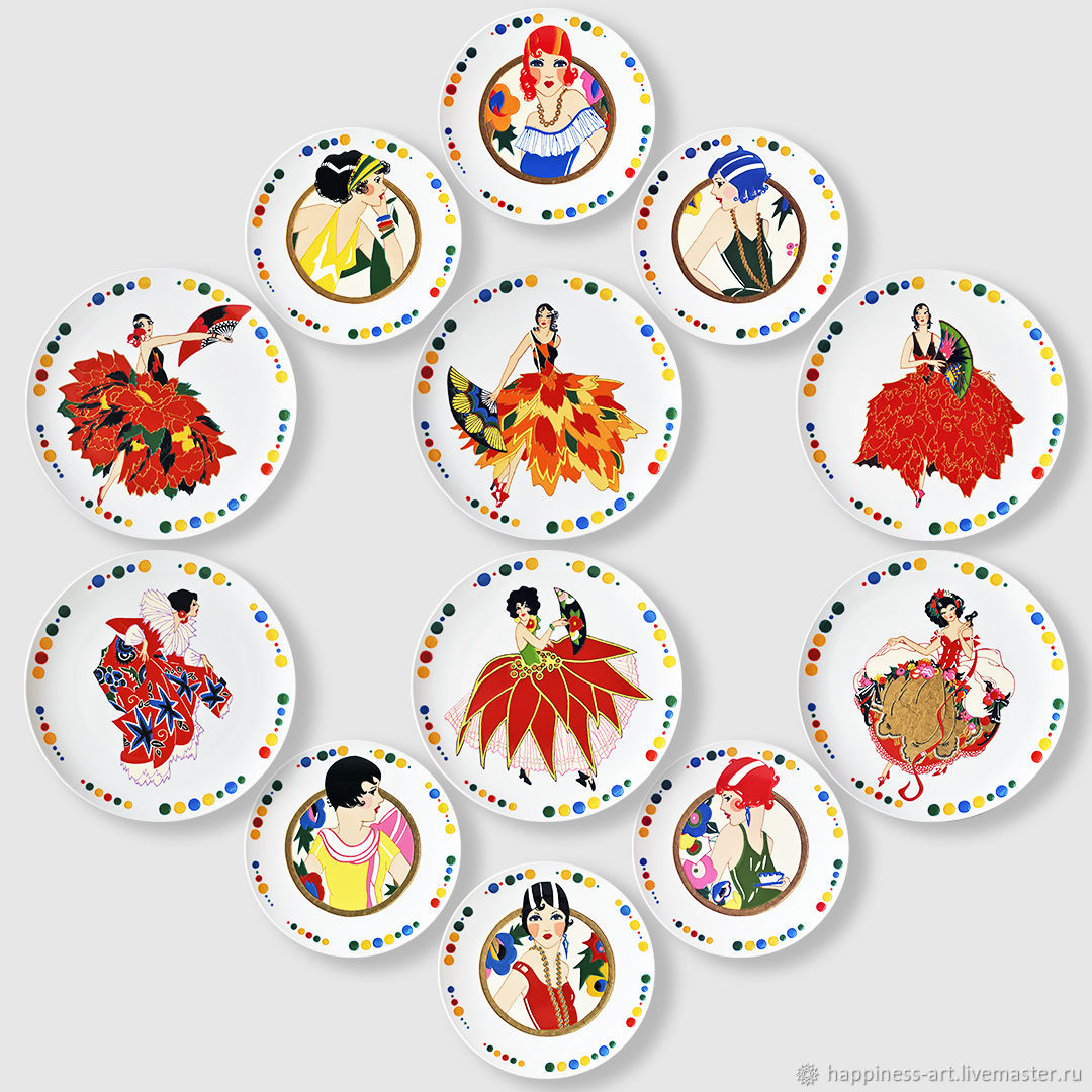 Decorative wall plates interior with girls Set No. №7, Decorative plates, Moscow,  Фото №1