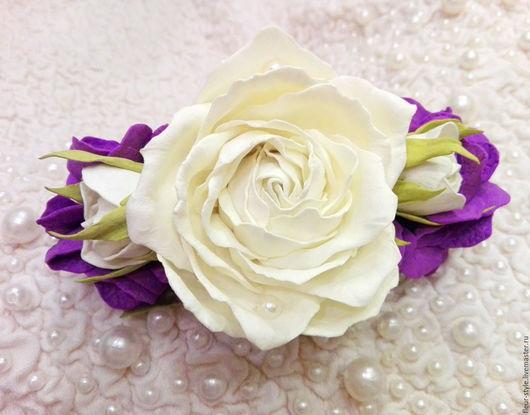 Заколки ручной работы. Ярмарка Мастеров - ручная работа. Купить Заколка с розами и гортензией. Handmade. Белый, розы, невесте, жемчуг