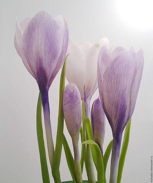 Крокусы, Весенние цветы, Интерьерная композиция,Крокусы из полимерной глины