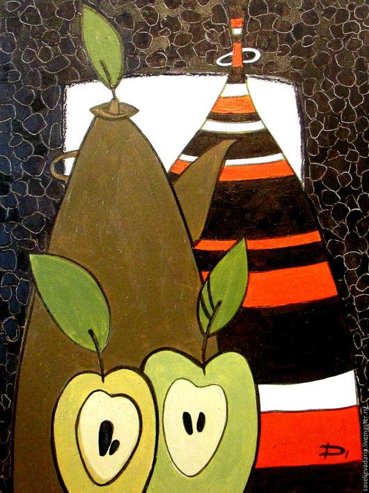 """Натюрморт ручной работы. Ярмарка Мастеров - ручная работа. Купить Картина маслом """"Apple"""". Handmade. Оранжевый, натюрморт, фрукты, лист"""