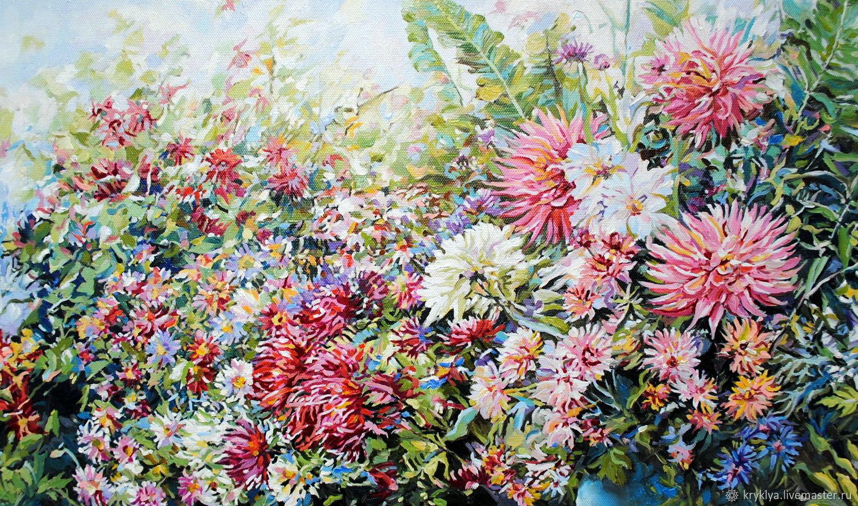 """Картина маслом """"Букет цветов в синей вазе"""", Картины, Таганрог,  Фото №1"""