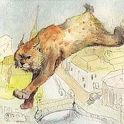 Открытки handmade. Livemaster - original item Postcard Lynx over the city. Handmade.