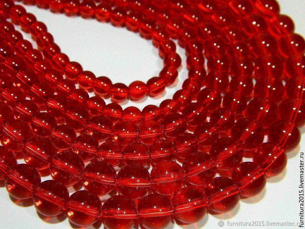 Кварц , цвет вишневый красный, кварцевое стекло,8,10 мм, Бусины, Саратов,  Фото №1