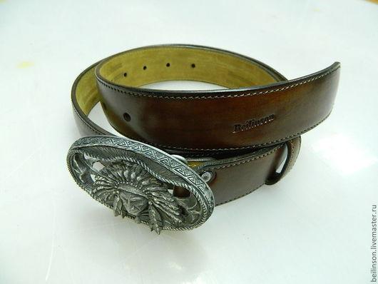 Пояса, ремни ручной работы. Ярмарка Мастеров - ручная работа. Купить ремень кожаный, с пряжкой привезенной из Перу, в пдарочном чехле из ко. Handmade.