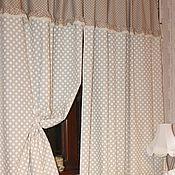 Для дома и интерьера ручной работы. Ярмарка Мастеров - ручная работа Льняные шторы в стиле  Прованс в горошек. Handmade.