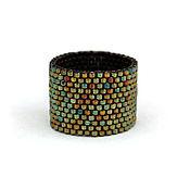 Украшения ручной работы. Ярмарка Мастеров - ручная работа Минималистичное кольцо из бисера. Темно-зелёное кольцо ручной работы. Handmade.