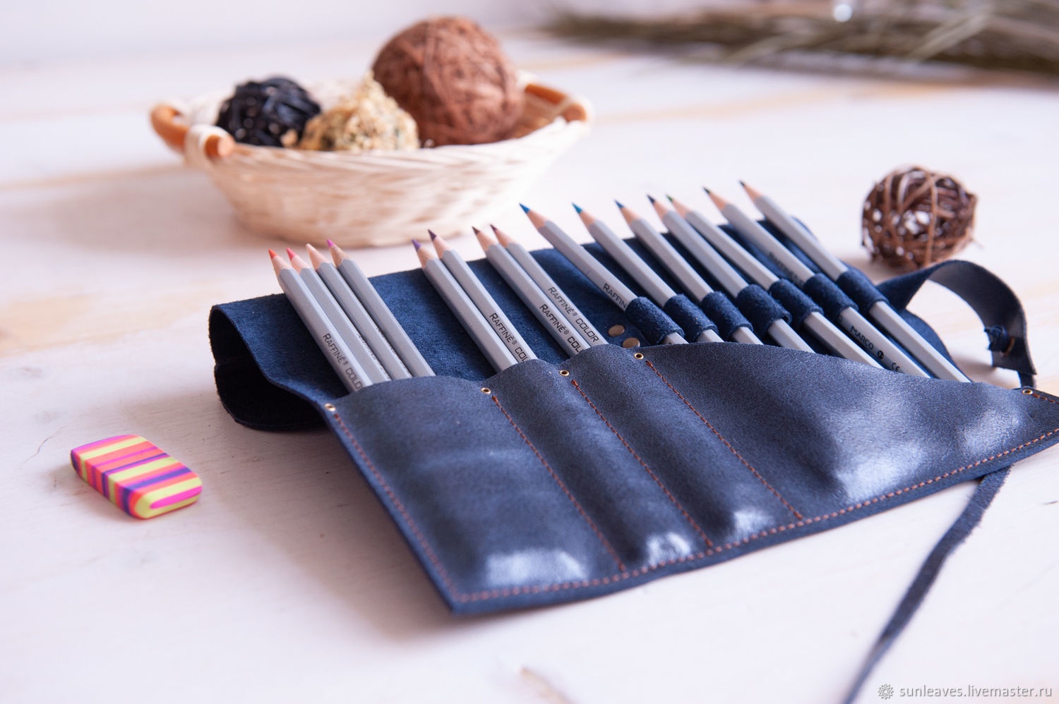 Roll for brushes, pencils, pens made of genuine leather Deep Blue, Canisters, St. Petersburg,  Фото №1