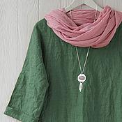 Одежда handmade. Livemaster - original item Oversized blouse made of linen in khaki. Handmade.