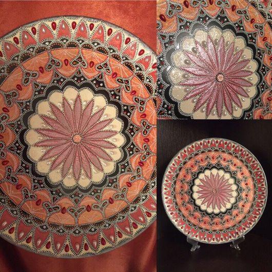 Тарелки ручной работы. Ярмарка Мастеров - ручная работа. Купить Тарелочка керамическая. Handmade. Точечная роспись, керамика, лак
