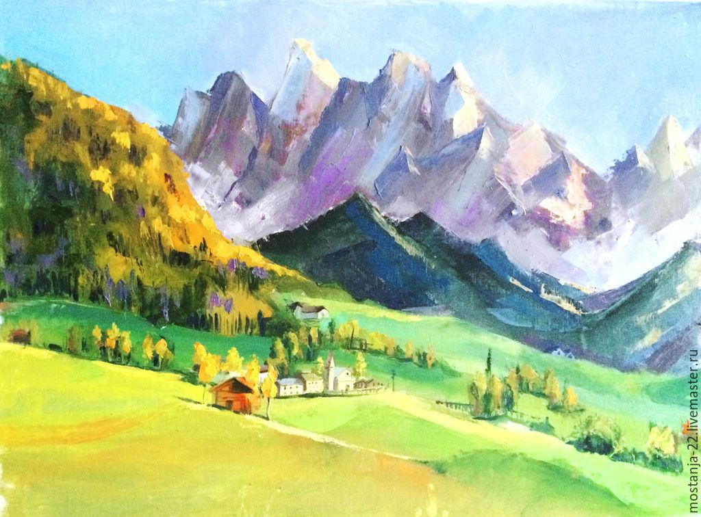 Пейзаж ручной работы. Ярмарка Мастеров - ручная работа. Купить Деревня в горах. Handmade. Домик, осень, лес, горы, домики