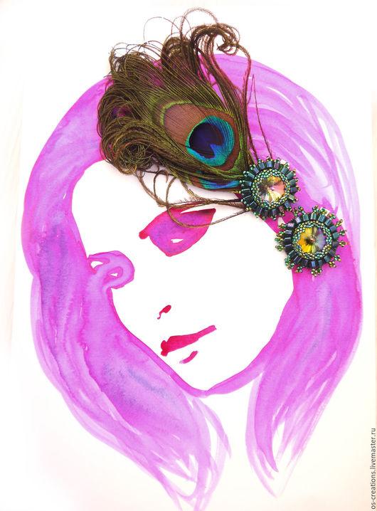 """Диадемы, обручи ручной работы. Ярмарка Мастеров - ручная работа. Купить Повязка на волосы """"Дерзкая красота"""". Handmade. Изумрудный, павлин"""