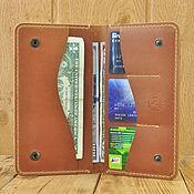 Кошельки ручной работы. Ярмарка Мастеров - ручная работа Кожаное портмоне для паспорта, телефона, карт. Цвет загар. Handmade.