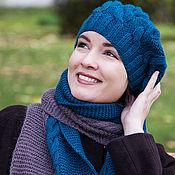 Аксессуары ручной работы. Ярмарка Мастеров - ручная работа Шапка шарф комплект вязаный берет зеленый изумрудный коричневый снуд. Handmade.