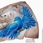 """Аксессуары ручной работы. Ярмарка Мастеров - ручная работа Батик платок """"Синяя птица счастья"""". Handmade."""