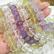 Материалы для творчества handmade. Livemaster - original item Quartz Rondel beads, amethyst, Rondel crystal. 5 pieces. Handmade.