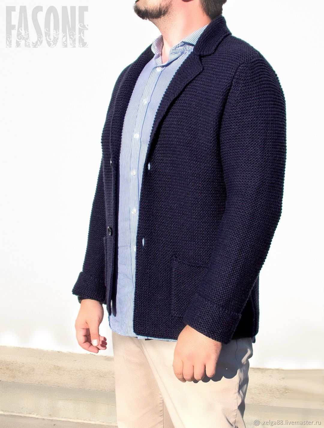 Jackets: Men's cardigan blue wool 'Cardigano', Sweater Jackets, Prague,  Фото №1
