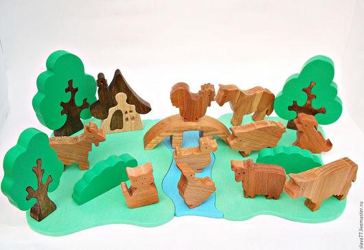 Развивающие игрушки ручной работы. Ярмарка Мастеров - ручная работа. Купить Набор домашних животных на лугу. Handmade. Бежевый