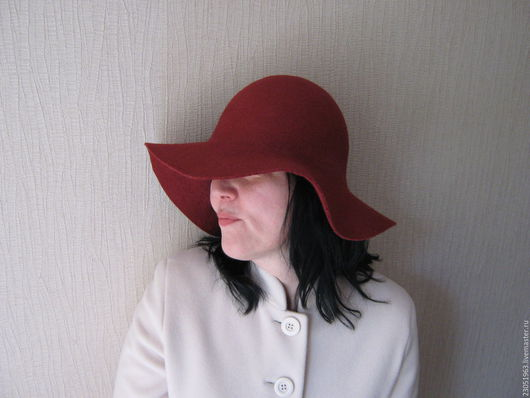 """Шляпы ручной работы. Ярмарка Мастеров - ручная работа. Купить Шляпа из шерсти """"Бордо"""". Handmade. Бордовый, валяная шляпка"""