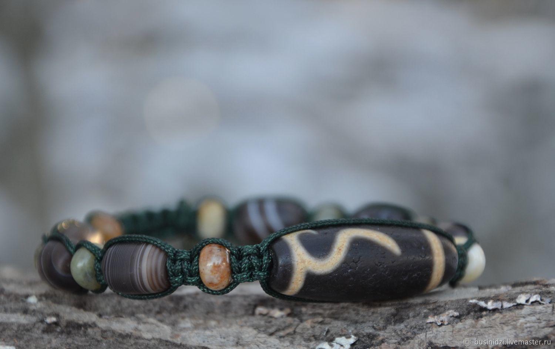 Men's bracelet with Tibetan Dzi and ancient agatamies from the FAIRY FOREST, Bead bracelet, Pereslavl-Zalesskij,  Фото №1
