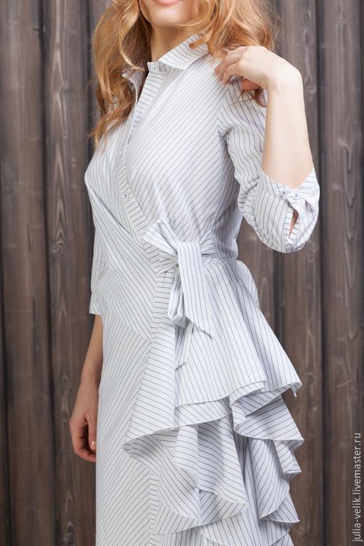 Платья ручной работы. Ярмарка Мастеров - ручная работа. Купить Платье-рубашка Водопад Любви. Handmade. Белый, Платье нарядное