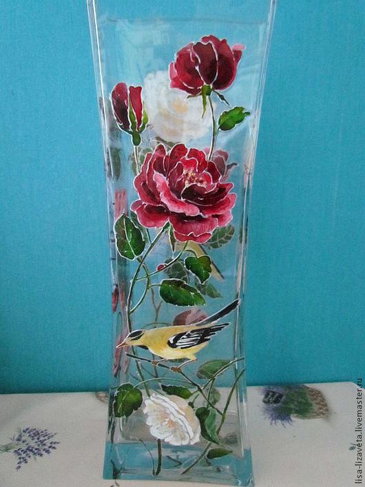 """Вазы ручной работы. Ярмарка Мастеров - ручная работа. Купить Ваза """"Алые и белые розы"""". Handmade. Цветы, романтика"""