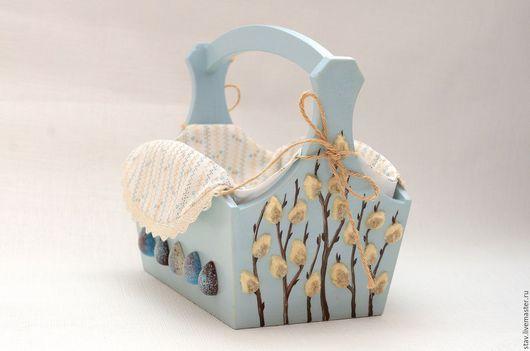"""Корзины, коробы ручной работы. Ярмарка Мастеров - ручная работа. Купить Пасхальная корзина роспись""""Нежность""""верба голубой подарок. Handmade. Голубой"""