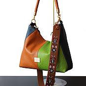 Сумка-мешок ручной работы. Ярмарка Мастеров - ручная работа Кожаная сумка с вышитым ремешком, фисташково-синяя, рыжая. Handmade.