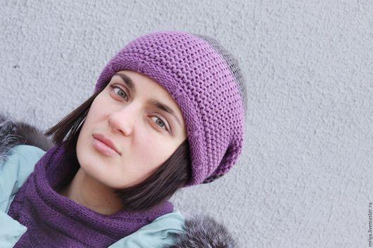Шапки ручной работы. Ярмарка Мастеров - ручная работа. Купить Двойная полушерстяная шапка-бини-чулок фиолетово-серого цвета.. Handmade.