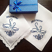 Свадебный салон handmade. Livemaster - original item Handkerchiefs Gzhel Swans wedding anniversary. 1 year. Handmade.