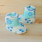 Работы для детей, handmade. Livemaster - original item Knitted shoes Booties boots plush, baby shoes, color turquoise. Handmade.