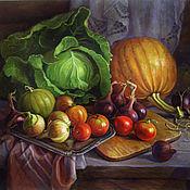 Картины и панно ручной работы. Ярмарка Мастеров - ручная работа Натюрморт с капустой и овощами. Handmade.