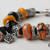 Украшения handmade. Livemaster - original item Bracelet and earrings orange mood. Handmade.