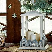 Для дома и интерьера handmade. Livemaster - original item Candle holder with houses. Handmade.
