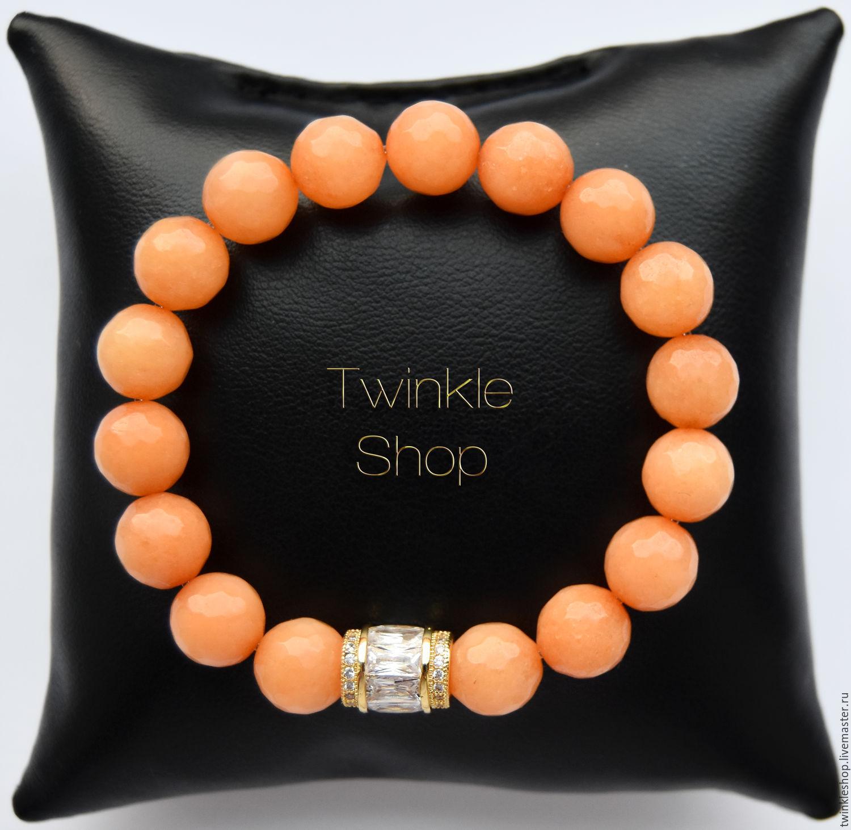 Bracelet agate 'Wild Orange', Bead bracelet, Moscow,  Фото №1